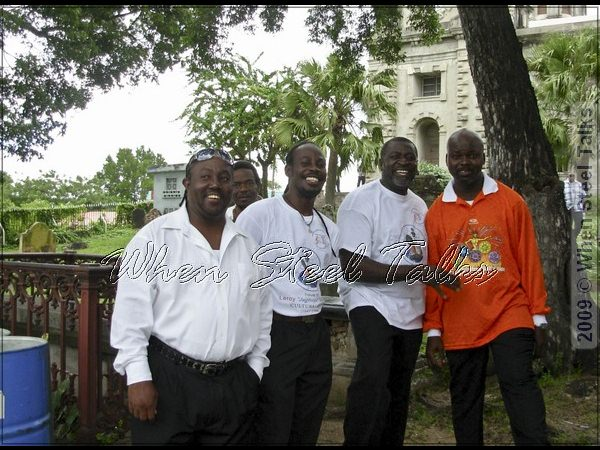 One love: Hell's Gate panists; one of Gemonites Steel Orchestra founders Vere Henry   (second from right), and Veron Henry (right) arranger and tuner for Hell's Gate