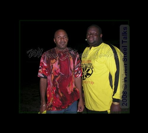 "Ebonites arranger Aubrey ""Lacu"" Samuel (left), with Cuthbert ""Tiny"" Thomas (right)"