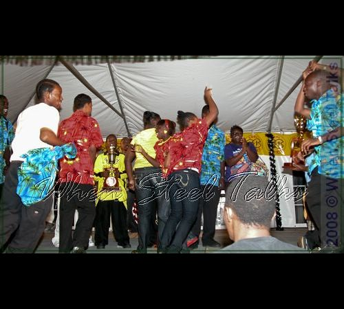 Winners - Antigua & Barbuda National Youth Pan Orchestra  - celebrate on stage