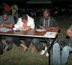 Hard at work on the adjudication; from left to right - Victor Prescod, Marion Byron, Julien Lawrence and Ivan Michael