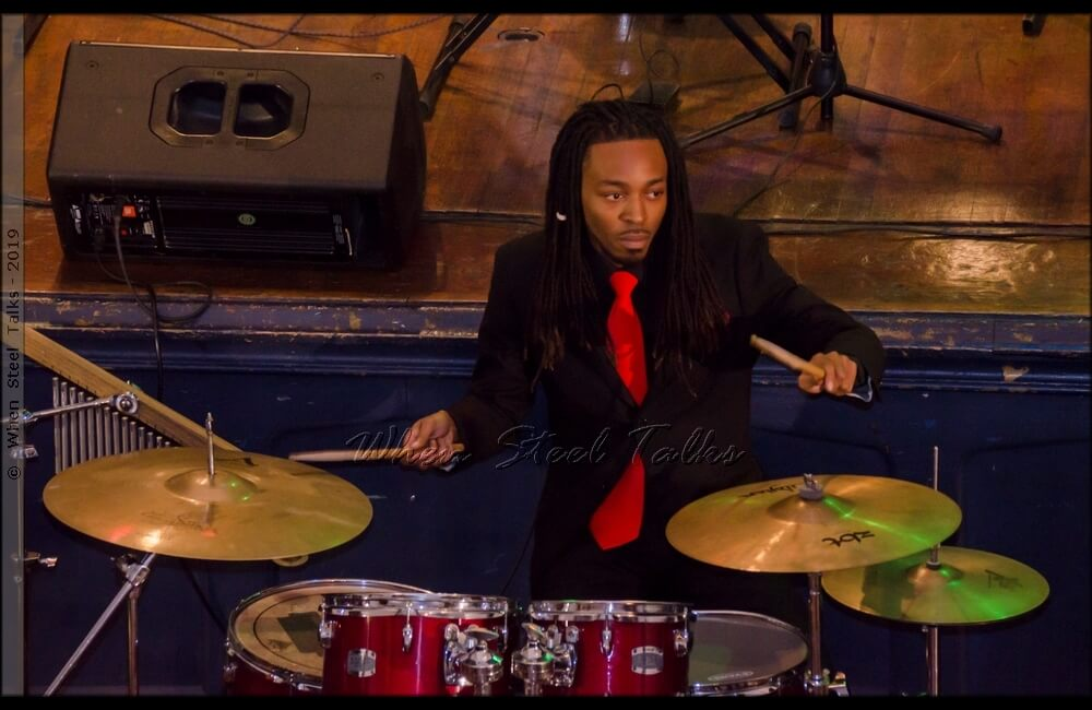 Damany James, musical director of Meyer Levin Advanced Steel Band