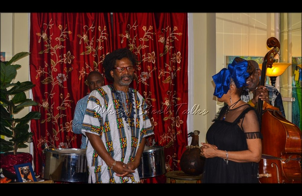 """Terah Tom shares a few words before the performance of Ron Reid and Garvin Blake at the inaugural """"Carib Parlor Notes"""""""