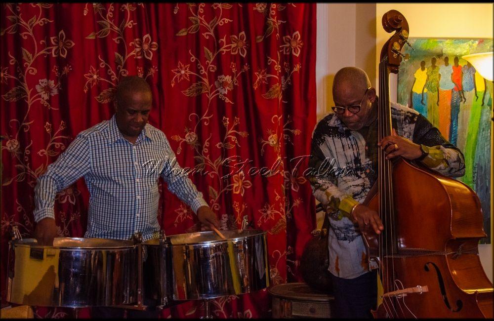 "Panist Garvin Blake and bassist Ron Reid at the inaugural ""Carib Parlor Notes"""