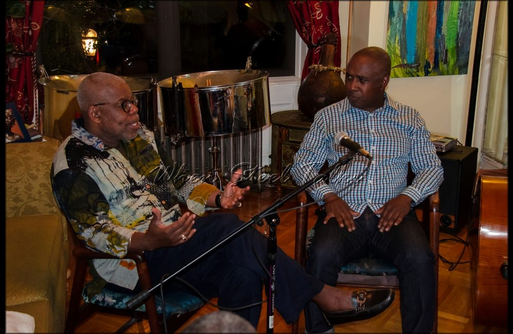 """Garvin Blake interviewed by Ron Reid after their performance at the inaugural """"Carib Parlor Notes,"""" and also taking questions from the audience"""