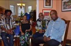"""Terah Tom with wife Hazel Beckles Younglao, Ron Reid, and panist Garvin Blake at the inaugural """"Carib Parlor Notes"""""""