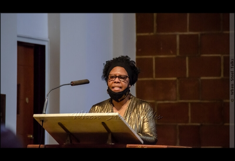 Jeannette King delivering one of the readings at the service