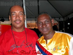 "Robin Margetson (Gemonites - Antigua) with David ""Peck"" Edwards (New Dimensions - Grenada)"