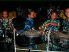 Members of Holy Family Cathedral Junior Steel Orchestra practice before taking the stage